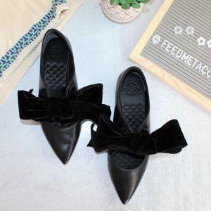 Tory Burch Clara Leather Velvet Bow Flats